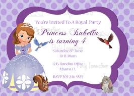 Princess Themed Birthday Invitation Cards Princess Sofia Party Invitations Home Party Ideas