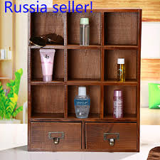 russia seller wooden desktop storage box diy multi functional