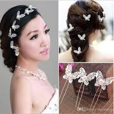 rhinestone hair shinning butterfly hair pins rhinestone pearl hair