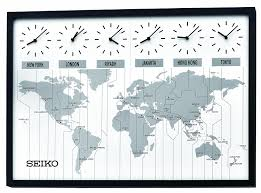 Time Zone Map World Clock by Amazon Com Seiko Qxa538klh Classic Six City World Time Wall Clock