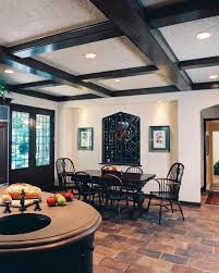Coffered Ceiling Lighting by Terracotta Floor Tile Kitchen Traditional With Brick Flooring
