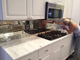 antique mirror tiles backsplash installation french kitchens