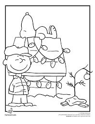charlie brown christmas coloring snoopy woo jr kids