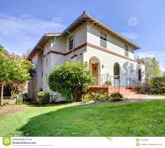 spanish style white large home front exterior royalty free stock