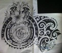 maori with flower tattoo design polynesian by tattoosuzette