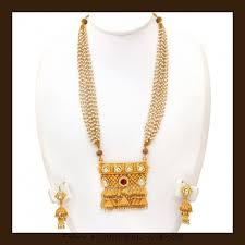 long pearl necklace set images Gold long pearl necklace set from vbj gold diamond gold jpg