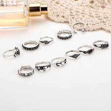 beautiful finger rings images 11pcs rose flowers carved moon finger ring set antique gold silver jpg
