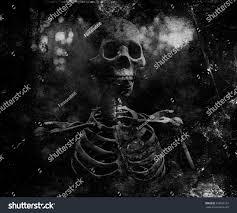 Vintage Halloween T Shirts Grunge Vintage Scary Wallpaper Skeleton Horror Stock Photo
