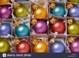ornaments up of a box of brightly colored glass