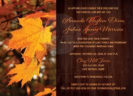 autumn leaves wedding invitation orange gold yellow brown