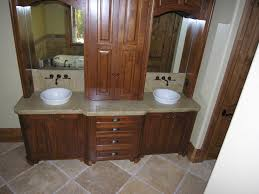 cozy wooden bathroom cabinets with top white granite sink
