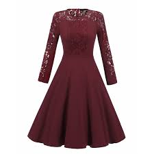 women long sleeve lace dress new vintage 50s lace round round long