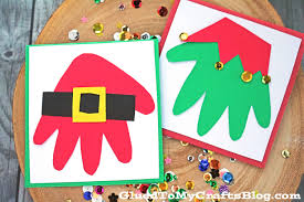 santa u0026 elf handprint christmas cards kid craft glued to my crafts
