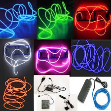 glow lights 5m neon led light glow el wire string rope car