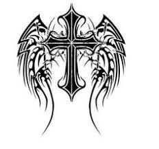 pin gothic cross tattoo drawing and wings picture to pinterest