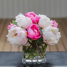 peony arrangement silk white light pink touched peony arrangement flovery