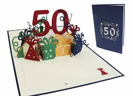 50th Birthday Cards For Pop Up Birthday Card 50th Birthday Blue Lin Pop Up 3d