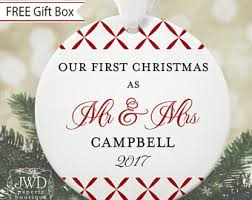 Personalized Wedding Ornament Our First Christmas Mr And Mrs Wedding Ornament Personalized