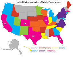 United States Map Picture by Maps On The Web United States By Number Of Whole Foods Stores