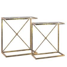 side accent tables gold rectangular mirrored x brace accent table