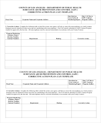 corrective action plan template 14 free sample example format