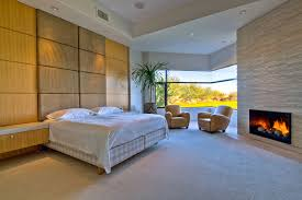 Fireplace Ideas Modern Gray Upholstery Tufted Leatherette Bed Frame Fireplace In Bedroom