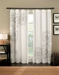 Types Of Curtains Decorating Decor Floral Panel Curtains In White With Dark Wood Floor For