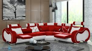 Wohnzimmer Schwarz Grau Rot Ecksofa Weiß Leder Ecksofa Polsterecke Echt Leder Dickleder Rot
