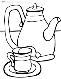 Tea Party Coloring Page Tea Party Coloring Pages Tea Party Cup Coloring Page