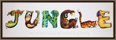 themed paintings jungle theme name paintings personalized name