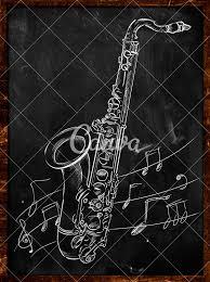 saxophone drawing sketching on blackboard music wallpaper photos