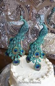 peacock wedding cake topper deco great gatsby by parisxox