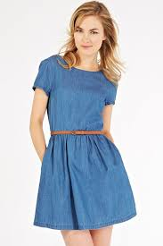 blue denim round neck short sleeve casual dress casual dresses