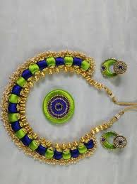 green color necklace set images Blue and light green color silk thread jewellery set fashionous jpg