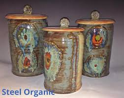 pottery kitchen canister sets handmade kitchen canisters etsy