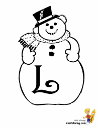 frosty snowman alphabets christmas coloring free letters