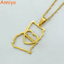 chain necklace heart images Anniyo heart ghana map necklace gold color pendant with thin chain jpg