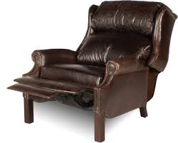 Reclining Leather Armchair Leather Wingback Chair With Ottoman Dark Brown Fau Wing And