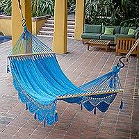 handmade blue cotton hammock from nicaragua single coco beach