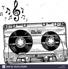 hand drawing cassette music record icon stock vector art