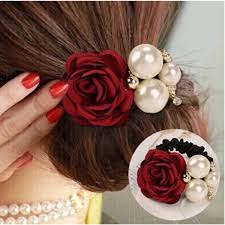 hair bands for women women satin ribbon flower pearls hair band ponytail holder
