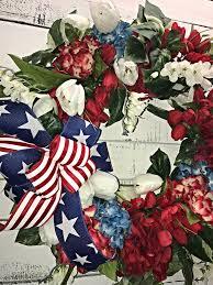 4th of july wreaths patriotic wreath patriotic door wreath hydrangeas 4th of