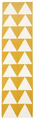 Flat Weave Runner Rugs Oulu Yellow White Triangle Runner Rug