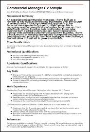 commercial contract manager sample resume commercial manager cv