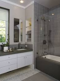 white and grey bathroom design ideas in grey tile part in