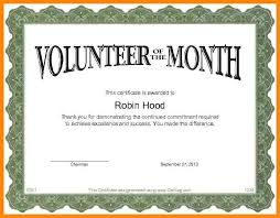 Volunteer Of The Month Certificate Template sle volunteer certificate template resume template sle
