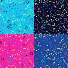 blue pattern background html retro 80s seamless pattern background set stock vector