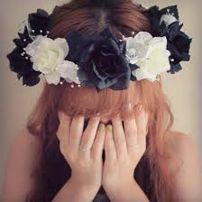 white flower headband hair accessory black and white flower crown black and white