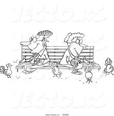 vector of a cartoon senior couple feeding birds outlined