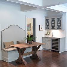 wet bar cabinets dining room transitional with dark wood flooring